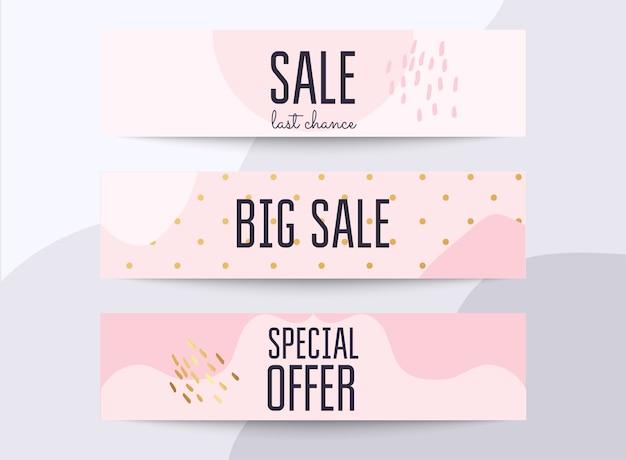 Imposta banner multimediali con offerta di sconto. sfondo dello shopping, etichetta per la promozione aziendale.