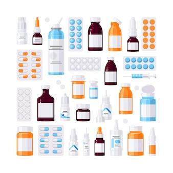 Set di bottiglie mediche.