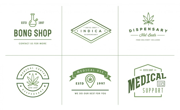 Set di segno di marijuana cannabis medica o modello di etichetta in. può essere usato come un logotipo.