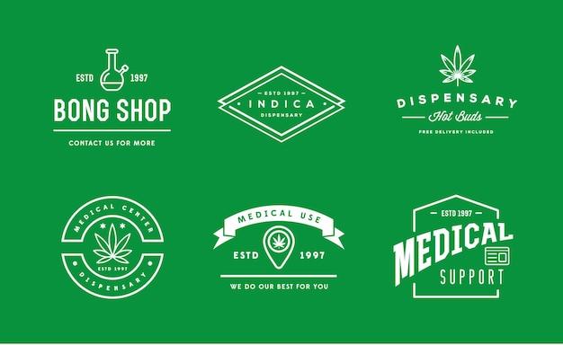 Set di segno di cannabis marijuana medica o modello di etichetta nel vettore. può essere usato come logotipo.
