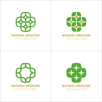 Set di modello di progettazione icona logo eco medico con croce e plus.