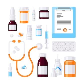 Set di articoli medici in stile piatto