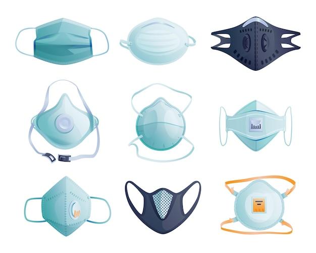 Set di maschere mediche per proteggere coronavirus, infezioni e icone dei cartoni animati isolate aria contaminata