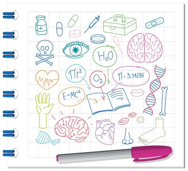 Insieme del doodle di elemento di scienza medica sul taccuino