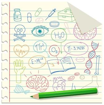 Set di elemento di scienza medica doodle su carta