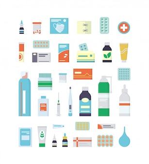 Set di farmaci, farmaci, pillole e flaconi per kit di pronto soccorso e armadietto medico. illustrazione isolata in stile piatto su sfondo bianco