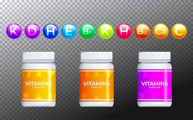 Set di bottiglie e pillole di medicina. illustrazione