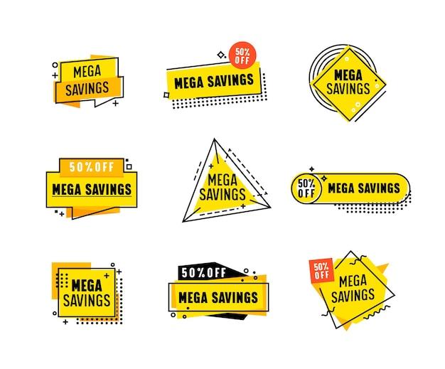 Set di banner mega risparmio con motivo geometrico astratto per post promozionale di vendita totale. progettazione di modelli per il marketing digitale sui social media. volantini per la promozione del marchio di influencer. illustrazione vettoriale