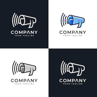 Set di design creativo con logo di carta megafono per tutti gli usi