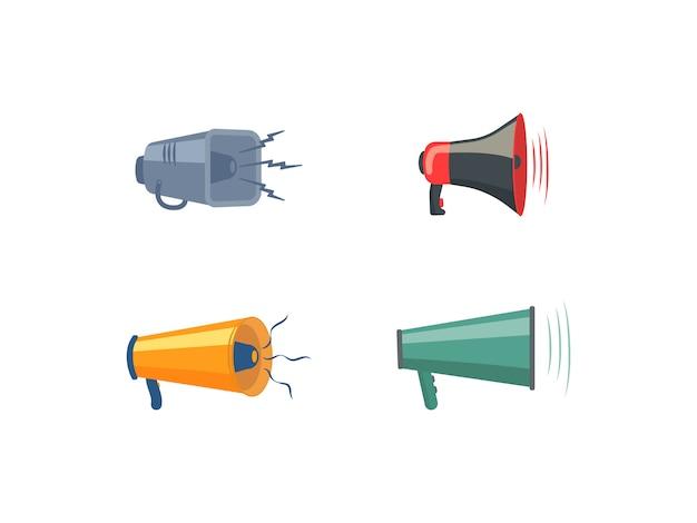 Set di megafoni, altoparlanti, icona o simbolo isolato su sfondo bianco. megafoni colorati in design piatto. concetto per social network, promozione e pubblicità. illustrazione, .
