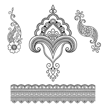 Set di fiori e bordi mehndi. decorazione in stile etnico orientale, indiano. ornamento di doodle. illustrazione di tiraggio della mano di contorno.