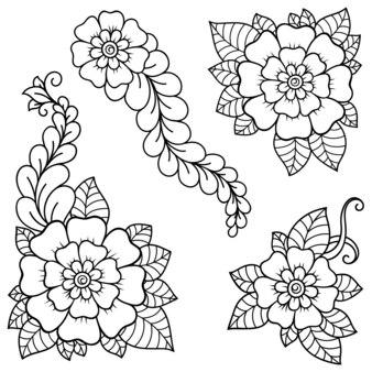 Set di fiori mehndi. decorazione in stile etnico orientale, indiano. ornamento di doodle. illustrazione di tiraggio della mano di contorno.