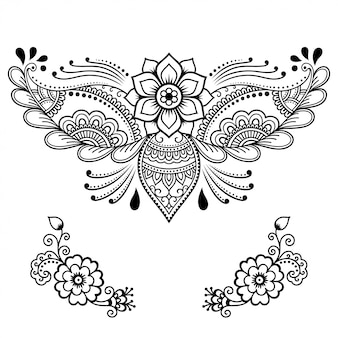 Set di fiore mehndi. decorazione in stile etnico orientale, indiano. ornamento doodle. illustrazione di tiraggio della mano di contorno.