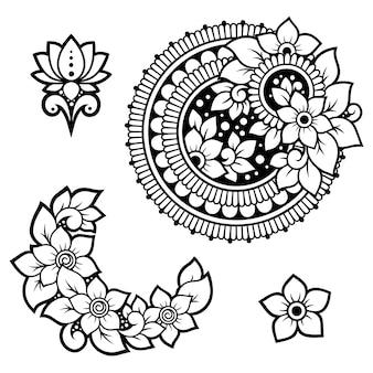 Set di fiori mehndi. decorazione in stile etnico orientale, indiano.