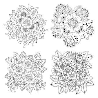 Set di decorazioni floreali mehndi in stile etnico orientale. doodle mano disegnare illustrazione pagina da colorare