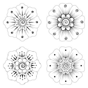 Set di fiori mehndi nella pagina di colorazione stile etnico orientale