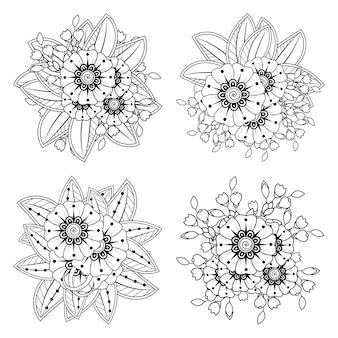 Set di mehndi fiore in stile etnico orientale doodle contorno mano disegnare illustrazione pagina del libro da colorare