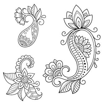 Set di motivi floreali mehndi. decorazione in stile etnico orientale, indiano. ornamento di scarabocchio. illustrazione di tiraggio della mano del profilo.
