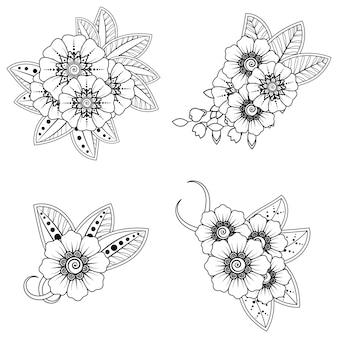 Set di motivo floreale mehndi per il disegno all'henné. decorazione in stile indiano etnico orientale.