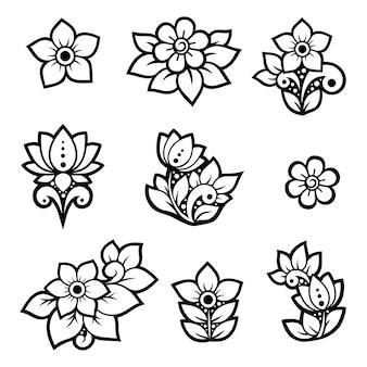 Set di motivo floreale mehndi per disegno e tatuaggio all'henné.