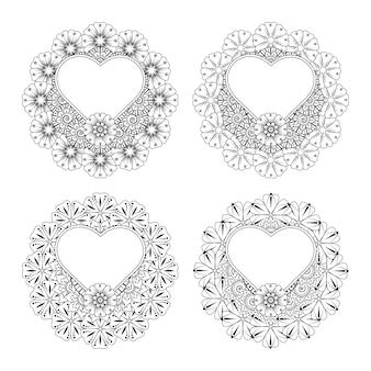 Set di fiori mehndi con cornice a forma di cuore decorazione floreale mehndi in stile etnico orientale da colorare
