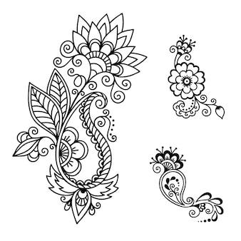 Set di fiori mehndi.