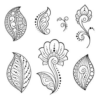 Set di fiori mehndi. decorazione in stile etnico orientale, indiano. ornamento di scarabocchio. illustrazione di tiraggio della mano del profilo.