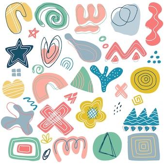 Insieme dell'elemento di forme astratte geometriche di memphis, forme geometriche astratte. elemento di design di memphis