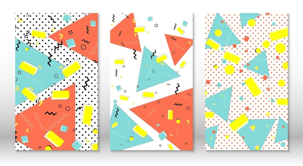 Set di modelli di memphis. fondo variopinto astratto di divertimento. stile hipster anni '80-'90. elementi di menfi.