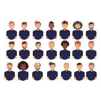 Set di avatar di uomini. uomini con acconciature diverse. collezione di illustrazioni di avatar di carattere vettoriale piatto.
