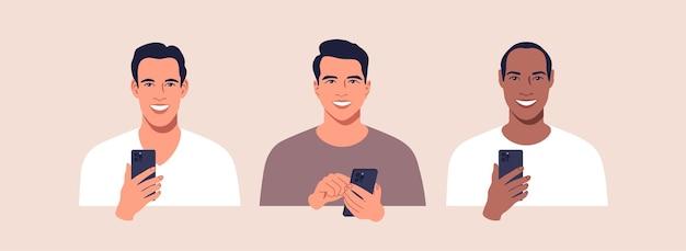 Insieme di uomini di diverse nazioni con il telefono cellulare nell'illustrazione delle mani