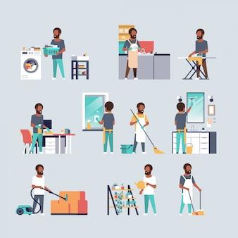 Impostare gli uomini facendo lavori domestici diversi concetti di pulizia della casa raccolta personaggi dei cartoni animati maschili a figura intera