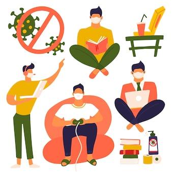 Insieme di uomini rimane e fa attività a casa per prevenire la diffusione dell'influenza. personaggio maschile che lavora al computer portatile, gioco che gioca sulla console, libro di lettura. resta a casa concetto di coronavirus. illustrazione piatta