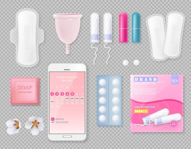 Set di prodotti per ciclo mestruale con tovagliolo sanitario, tazza, tamponi, sapone, pillole, confezione con posto per marchio e fiori