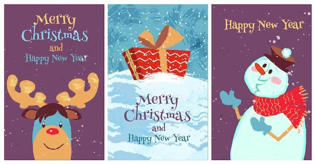 Imposta la cartolina di buon natale con pupazzo di neve di renne di natale e confezione regalo