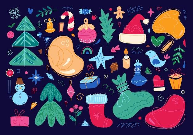 Set di caratteri ed elementi di buon natale icone per le vacanze di capodanno illustrazione a colori dei cartoni animati