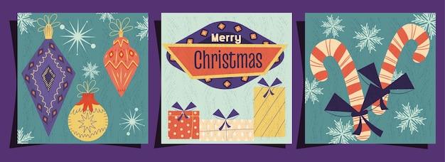 Un set di copertine di buon natale in stile retrò vintage cartello con giocattoli e caramelle natalizie