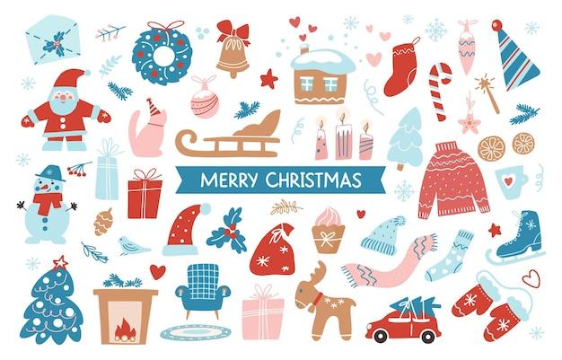 Insieme di oggetti del disegno della mano di buon natale isolati su priorità bassa bianca. illustrazione piana di vettore. collezione disegnata a mano di simboli invernali natalizi per banner, biglietti di auguri, volantini, adesivi