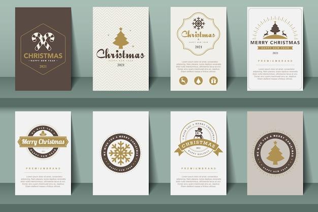 Set di opuscoli di buon natale e felice anno nuovo in stile vintage. Vettore Premium