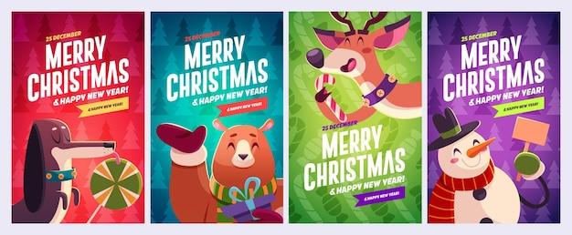 Set di biglietti di auguri di buon natale e felice anno nuovo con personaggi natalizi vector