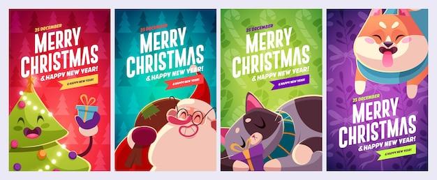 Set di biglietti di auguri di buon natale e felice anno nuovo con personaggi natalizi