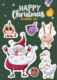 Set di adesivi o magneti di buon natale e felice anno nuovo. souvenir festivi. illustrazione vettoriale