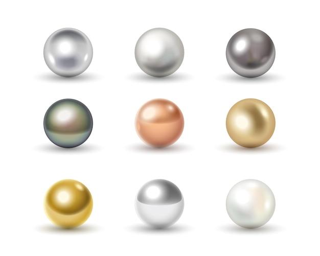 Set di sfere di metallo dorato, cromato, argento