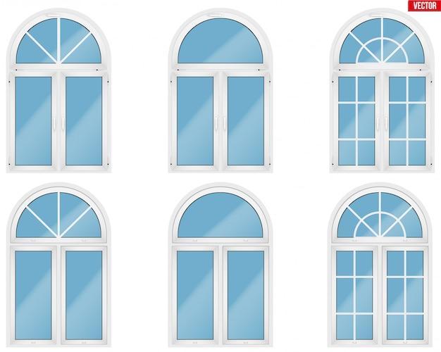 Set di finestre in metallo plastica pvc con stile ad arco.