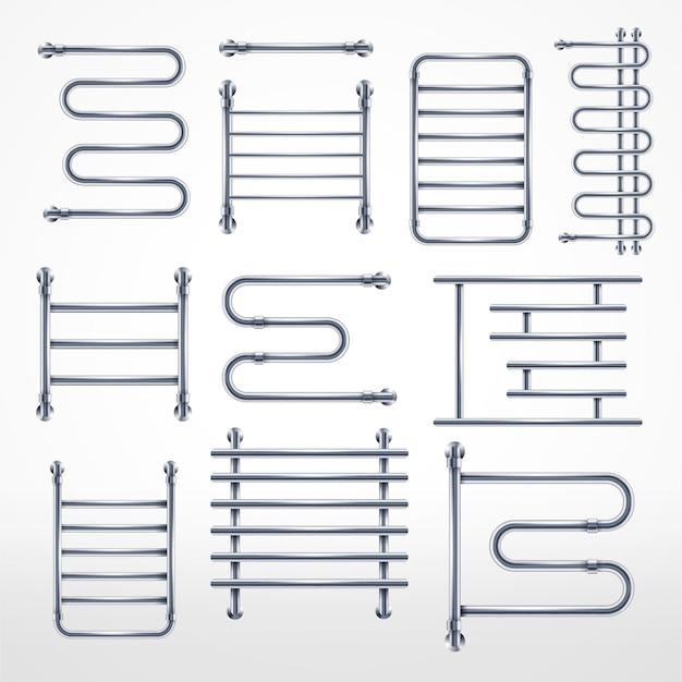 Set di portasciugamani in metallo portasciugamani riscaldato combinato di lusso cromato realistico e tubo a spirale