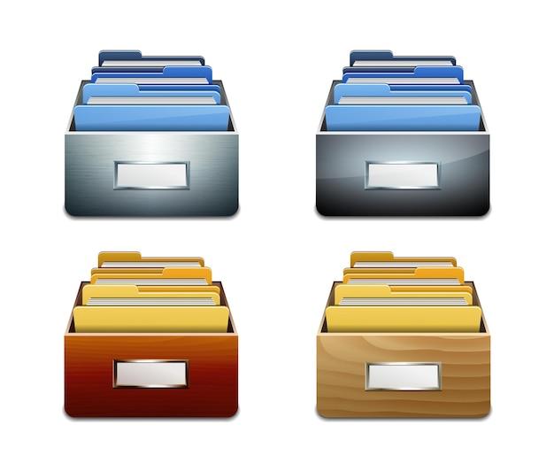 Set di armadi di riempimento in metallo e legno con cartelle portadocumenti. concetto illustrato di organizzazione e manutenzione del database. illustrazione vettoriale isolato su sfondo bianco