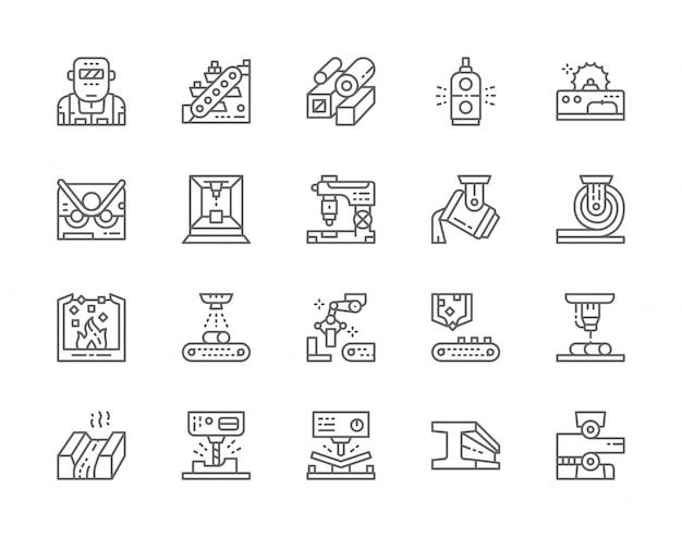 Set di icone di linea industria metallurgia. trasportatore, industria mineraria, tubi in acciaio, metallurgista, braccio del manipolatore robotico e altro ancora.