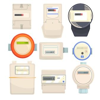 Set di contatori, contatori meccanici ed elettronici illustrazioni vettoriali