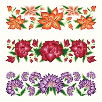 Set di bordi floreali stile ricamo messicano