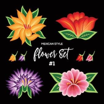Set di fiori stile ricamo messicano